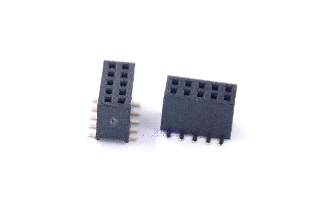 1000Pcs Pitch 2.54mm 2x5 Pin 10 Pin Female Double Row Straight Pin Header Strip