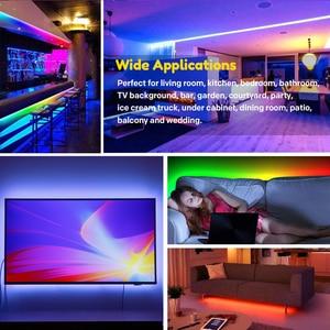 Image 4 - Commande musicale, 5 20m, LED bandes lumineuses couleur de rêve, WS2811, LED bandes RGB, 5050, SP106E, télécommande RF, avec adaptateur 12V pour fête