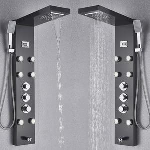 Image 4 - Black Bath Shower Thermostatic Mixer Shower Panel Rainfall Waterfall Massage Jets Shower Column  Shower Faucet Tower Shower Set