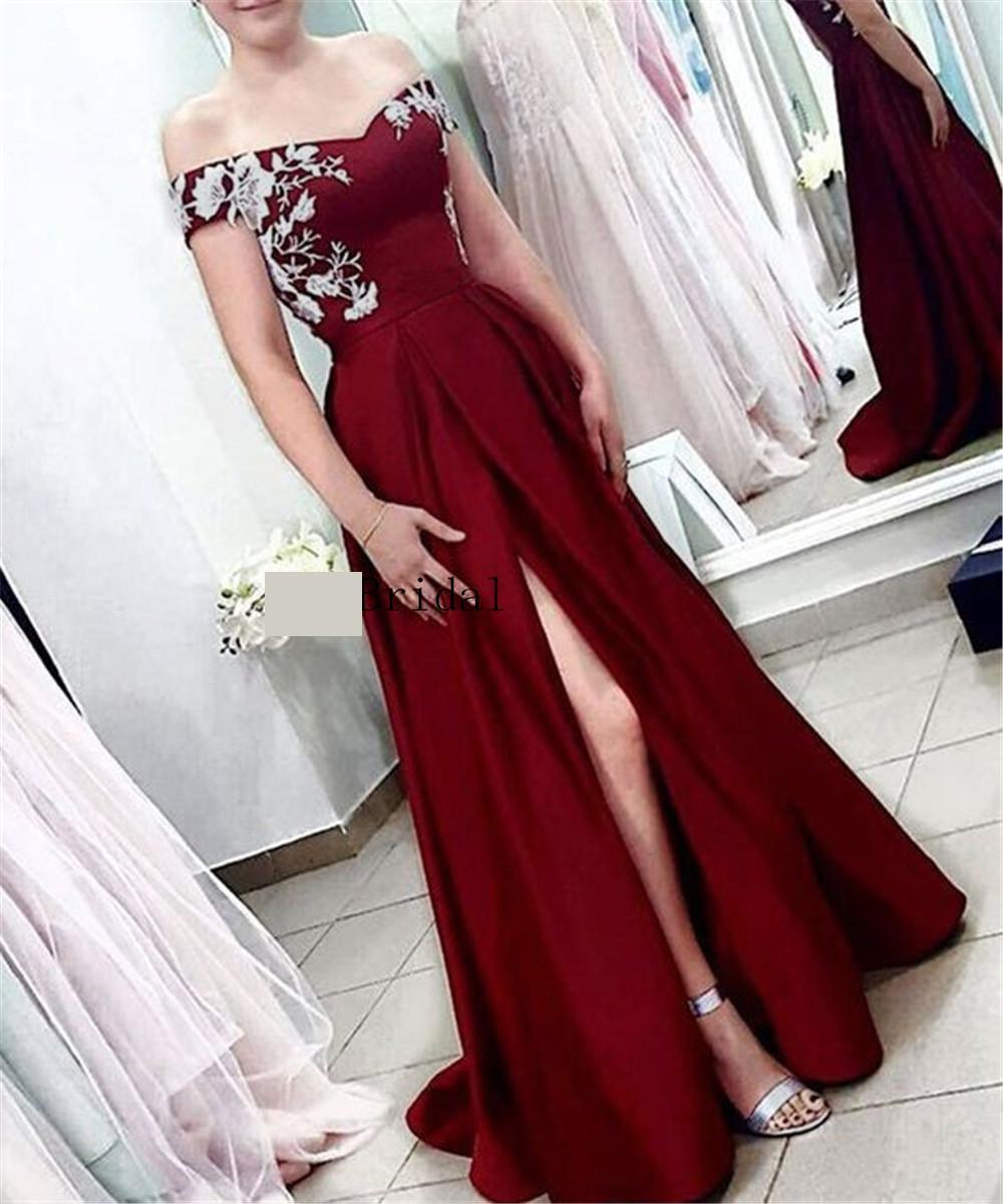 Burgundy   Evening     Dress   High Split Boat Neck Floor Length Long Satin Formal Occasion   Dresses   2019 Elegant Formal Prom Gowns