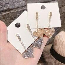 Korean luxury rhinestone earrings for women big heart  crystal simple korean statement dangle wedding earring jewelry party
