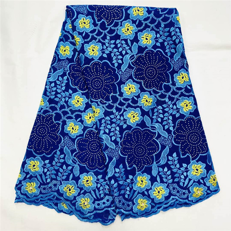 Swiss lace fabric 2020 heavy beaded embroidery African lace fabrics 100% cotton Swiss voile lace in Switzerland With stones K033