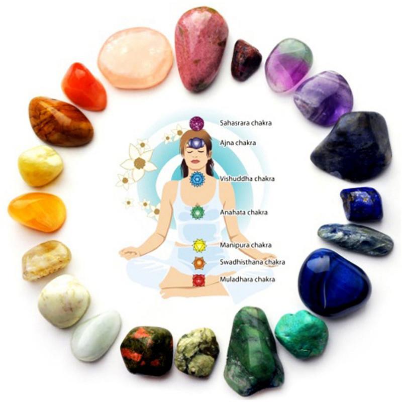 Натуральный энергетический камень для йоги, 7 цветов в наборе, камень-чакра, Необычные восстанавливающие кристаллы рейки, камень, отполиров...
