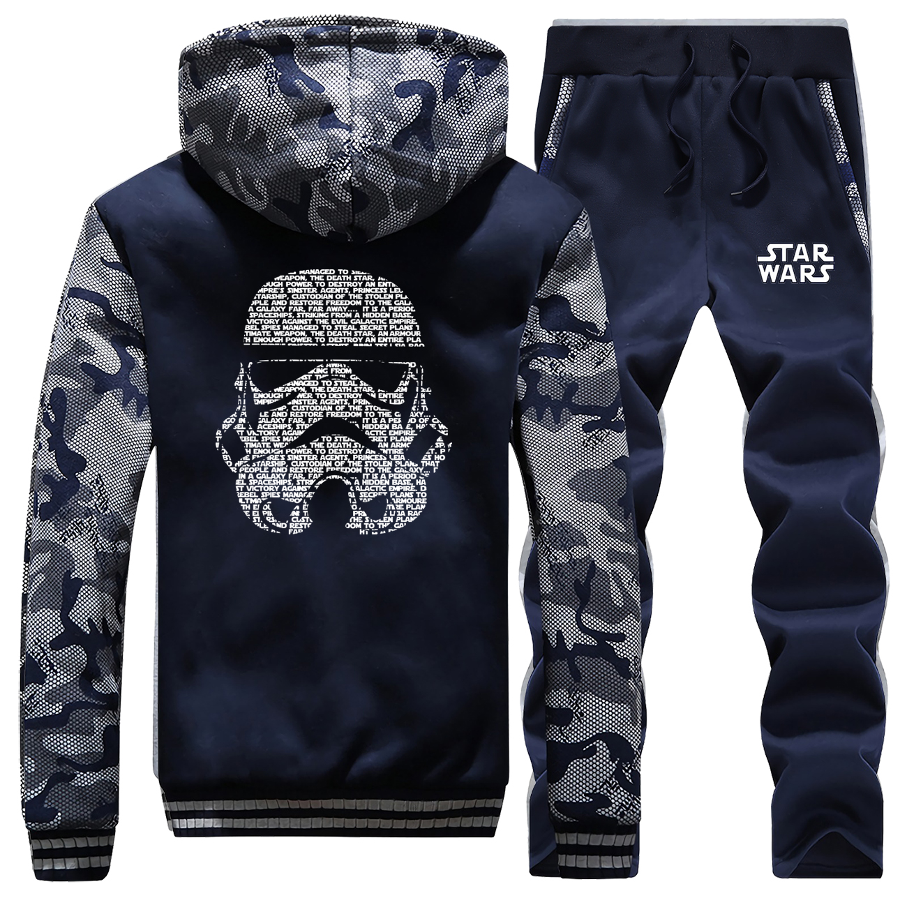 2019 Hot Sale Winter Hoodies Men Coat Thick Star Wars Stormtrooper Camouflage Suit Fleece Jacket Sportswear+Pants 2 Piece Set