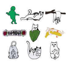 Cute Animal Brooches Funny White Cats Daily life Dog Bag Rose Enamel Pins Cartoon Jewelry Denim Jackets Button Pin Badge Gifts