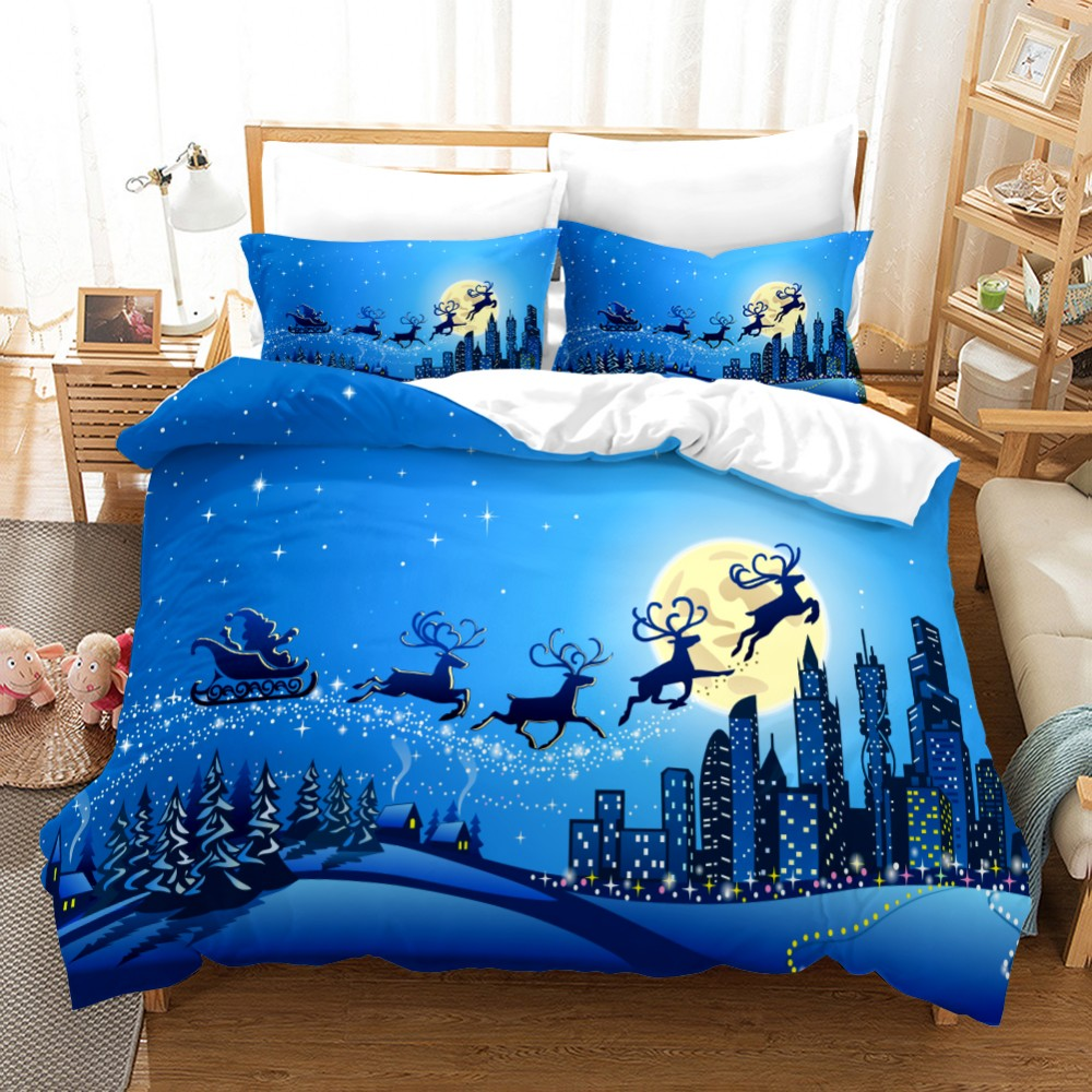 Merry Christmas 3D Print Bedding Set Festival Christmas Tree Snowflake Print Duvet Cover Set Cartoon Santa Claus Bed Linen Set