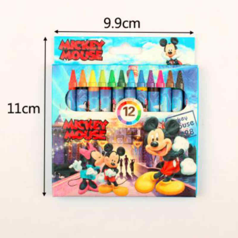 Mickey Minnie Cartoon Characters Oil Painting Stick Coloring Bright Stick 12 Color Children Art Painting Coloring Crayons
