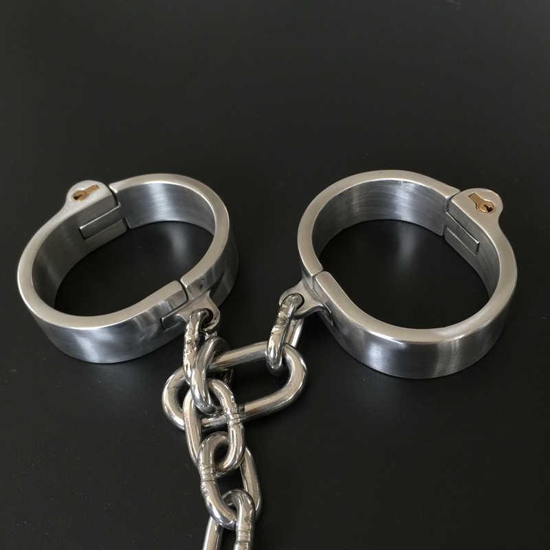 BDSM 스틸 본디지 넥 칼라 페티쉬 섹스 토이 여성을위한 남자 수갑 에로틱 Femdom 슬레이브 칼라 손목 손목 수갑