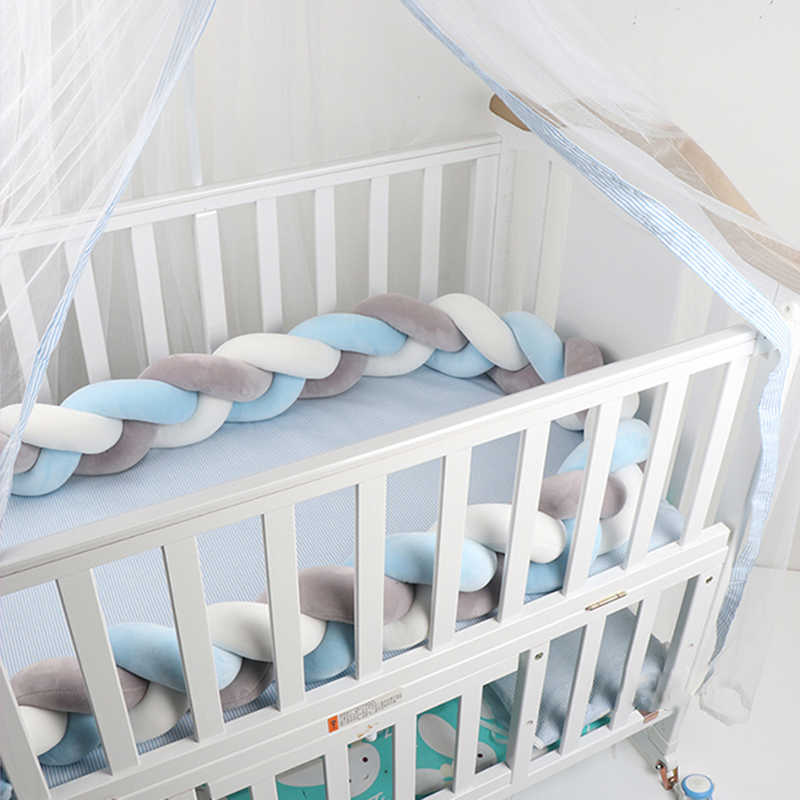 1.5M Soft Baby Bed Bumper Weaving Plush Knot Crib Bumper 3 Braids Baby Bed Decor Colorful Soft Knot Pillow Bedding for Infant
