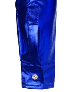Image 5 - Luxus Royal Blue Pailletten Metallic Kleid Shirts Männer 2019 Neue Langarm 70er Disco Party Hemd Männlichen Weihnachten Halloween Kostüm