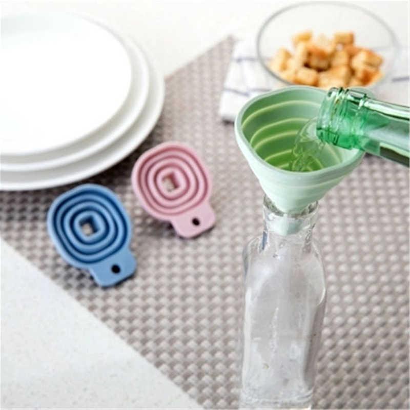 Silicona plegable embudo botella de agua tolva cocina filtro Transferencia de líquido