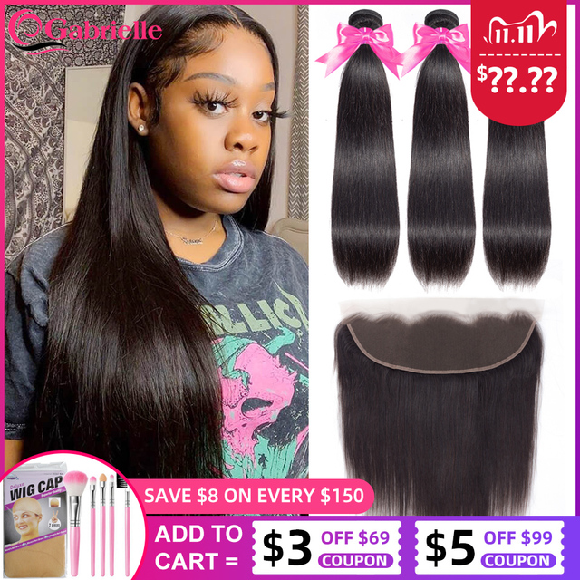 Gabrielle Straight Bundles with Frontal Brazilian Human Hair Weave Bundles With Closure 13x4 Lace Frontal with Bundles Remy Hair