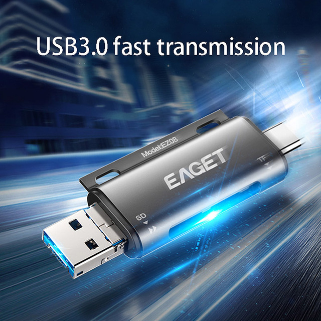 EAGET EZ08 Card Reader, Type-C Micro-USB USB 3.0 OTG High Speed Memory Card Portable  Multi-Function with for SD/TF Card Slot 4