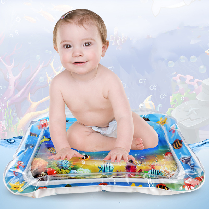 Baby Infant Play Mat With Magic Ground Fish Thicken PVC Inflatable Tummy Baby Time Toddler Rug With Fish For Children