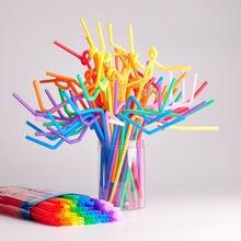 200 шт одноразовые гибкие соломинки полипропиленовые пластиковые