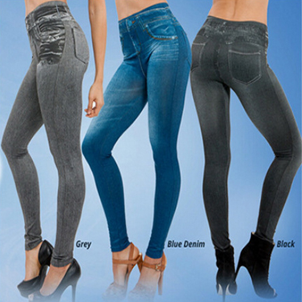 Women Denim Pants Pocket Slim Leggings Fitness Plus Size Leggins Length Jeans W813