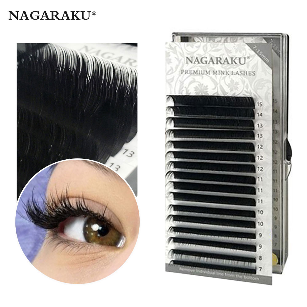 NAGARAKU Fast Ship 16rows/case 7~15mm mix premium natural synthetic mink individual eyelash extension makeup maquiagem cilios