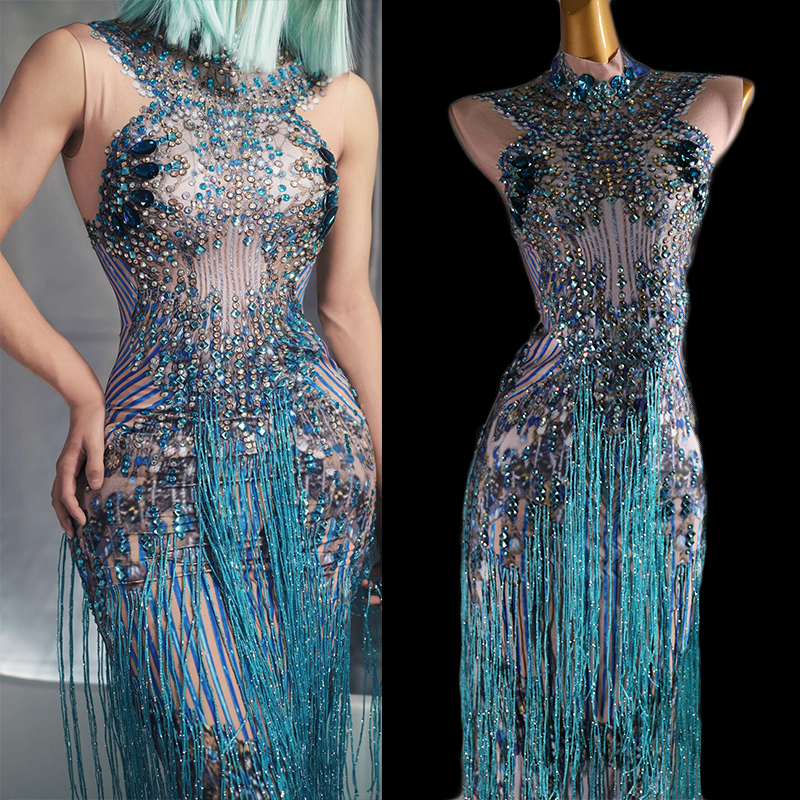 Sparkly Blue Fringes Dress Singer Performance Tassels Dresses Party Celebrate Glisten Rhinestones Costume Stage Show Wear DT832