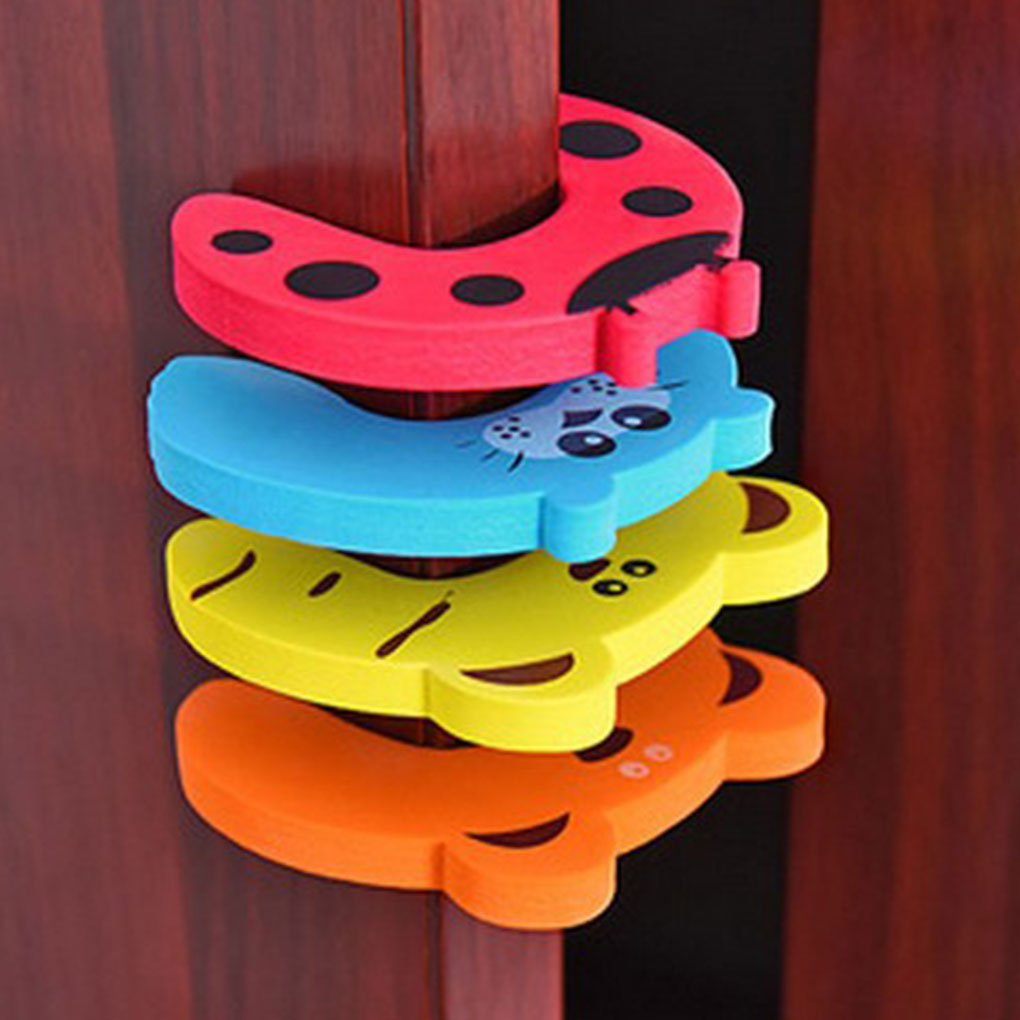 5Pcs Baby Hand Pinch Guard Set Security Stopper Children Safety Cartoon Animal Door Stop Cushion