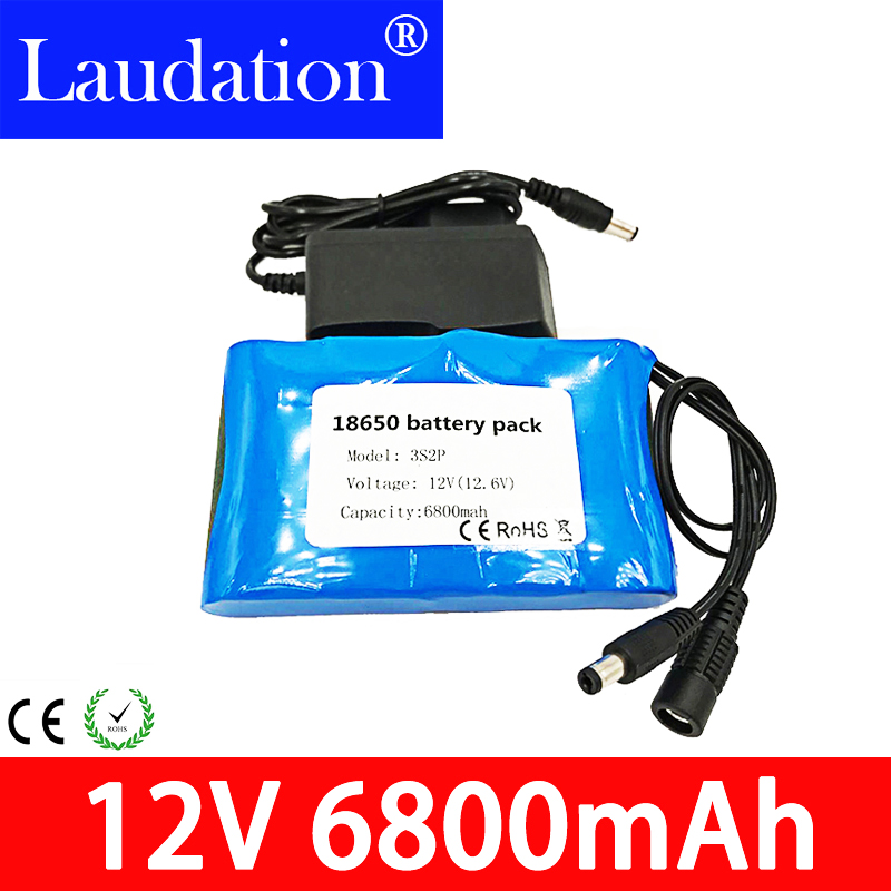 12v battery 6.8ahPortable Super Rechargeable Lithium Ion pack capacity DC 12V 12.6v 6800mah CCTV Cam Monitor