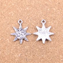 62 Uds Charms sun 23x18mm colgantes antiguos, joyería de plata tibetana Vintage, DIY para collar de pulsera