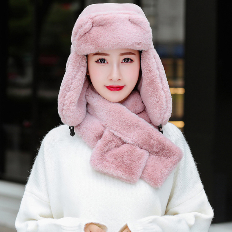 HT2684 High Quality Rabbit Fur Hat Scarf Earflap Trapper Russian Cap Winter Accessory Russian Hat Windproof Winter Hat Scarf Set