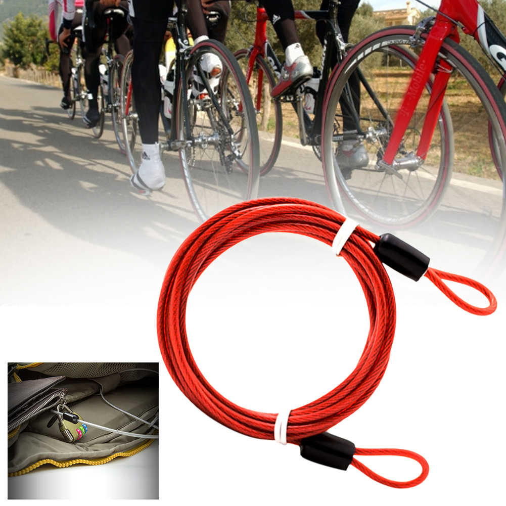 150cm x 2mm Cycling Sport Security Loop Cable Lock Bicycle Bike Scooter U-Lock