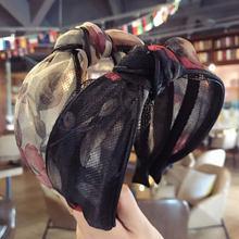 Bandeau en mousseline de soie pour femmes, 1 pièce, élégant, dentelle, maille, fil large, cerceau pour cheveux, nœud croisé, accessoires pour cheveux