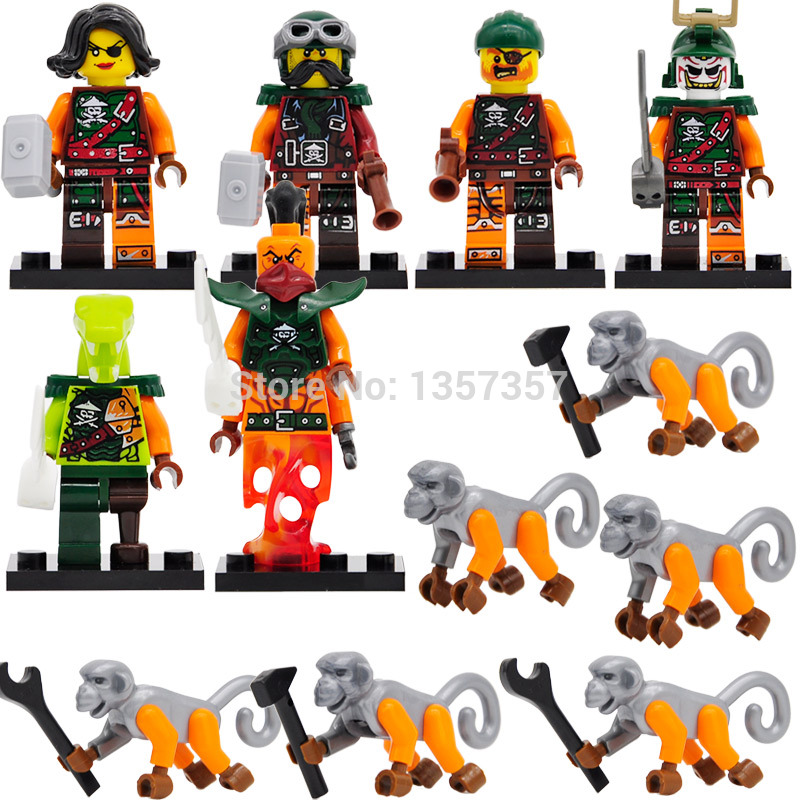 Single Sale Ninjagoed Figure With Monkey Snake/Nadakhan/Doubloon Building Blocks Model Toys D10035-10040
