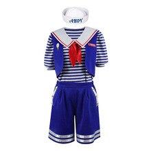 3pcs/set Stranger Things 3 Scoops Ahoy Robin Cosplay Costume Dress Steve Harrington Adult Uniform Working Sailor Suit Halloween