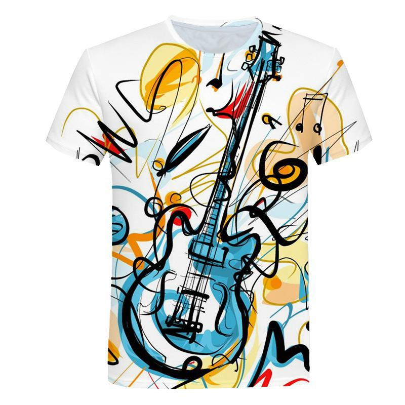 2021 new musical note 3D printing T-shirt men's and women's hip-hop fashion suit Harajuku T-shirt short-sleeved casual clothing