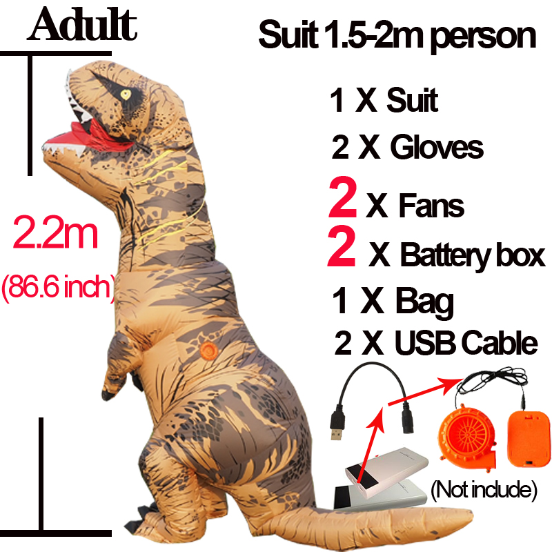 Dino T Rex Adult Inflatable Velociraptor Costume Mascot Cosplay Dinosaur T REX Costume Halloween T Rex Costume For Women Men Kid