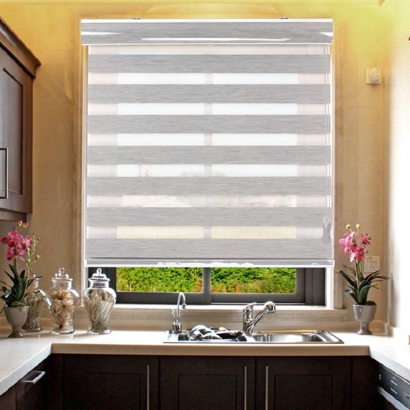 100% poliéster tecido manual blackout sombra cortinas blackout zebra