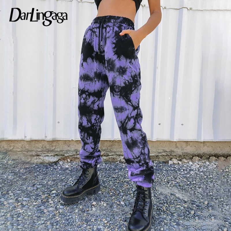 Darlingaga Streetwear İpli kravat boya Sweatpants kadınlar Joggers elastik yüksek bel pantolon Baggy Harajuku pantolon egzersiz pantolon