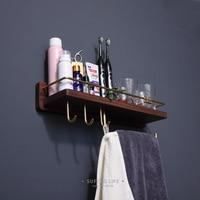 Wall Toothbrush Cup Holder Brass Cosmetics Storage Rack Solid Black Walnut Wood Bathroom Corner Shelf 45cm Towel Rack with Hook
