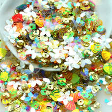 20 Gram Assorted Flower Sequins & Spangles, Mixed Shiny Colors and Shapes Party Decoration Sequnins Scrapbooking