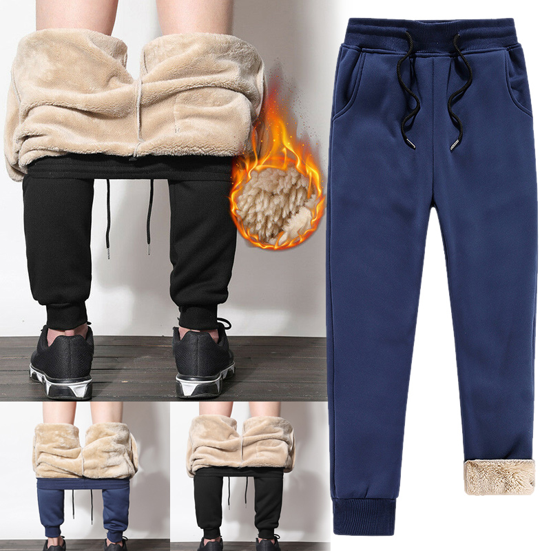 Newly Mens Athletic Pants Fleece Lined Thick Trousers Casual Loose Warm Joggers For Winter VK-ING