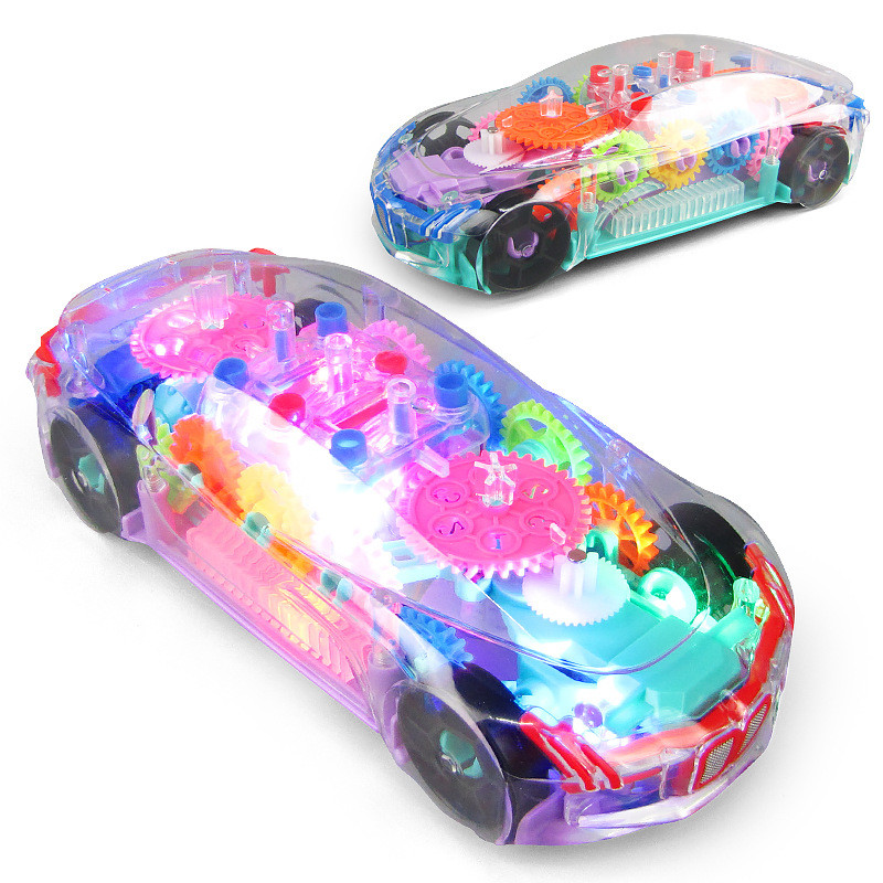 Electronic Transparent Car Lighting Music Car Musical Led Light Baby Early Education Funny Toy Gift