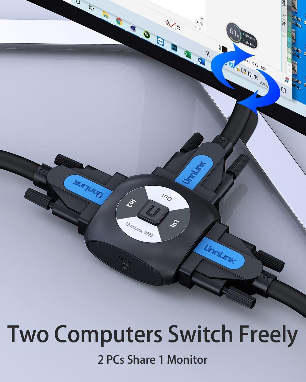 כרטיס גרפי החלף DVI Unnlink ספליטר דו כיווני Switch Switcher 2x1 / 1X2 UHD4K DVI AB עבור צג כרטיס גרפי שולחן מחשב (3)