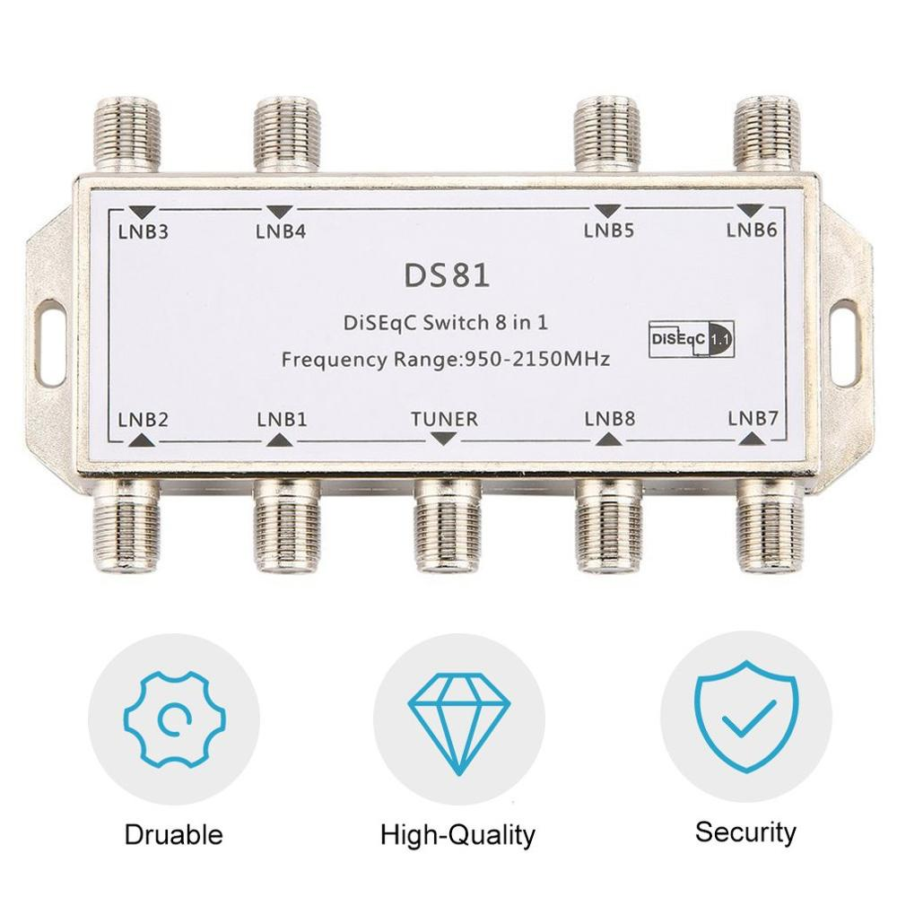 Hot Sale DS81 8 In 1 Satellite Signal DiSEqC Switch LNB Receiver Multiswitch Heavy Duty Zinc Die-cast Chrome Treated