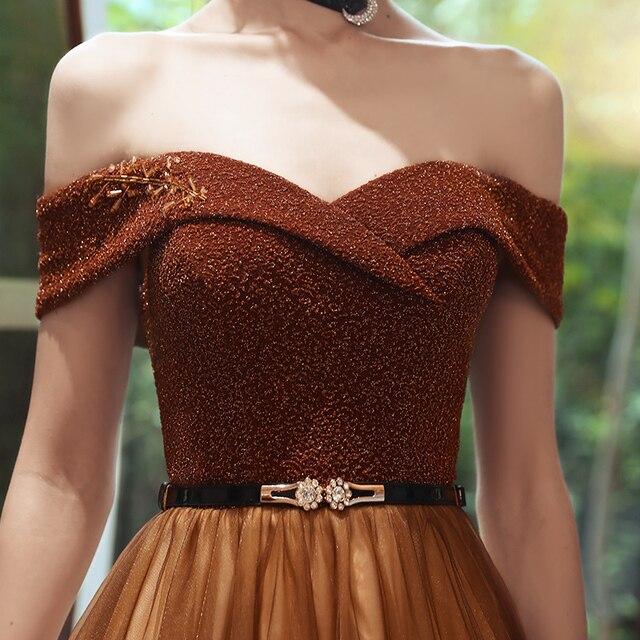 SSYFashion New Vintage Coffee Color Evening Dress Boat Neck Sequins Beading Floor-length Long Formal Gowns Vestidos De Noche 5