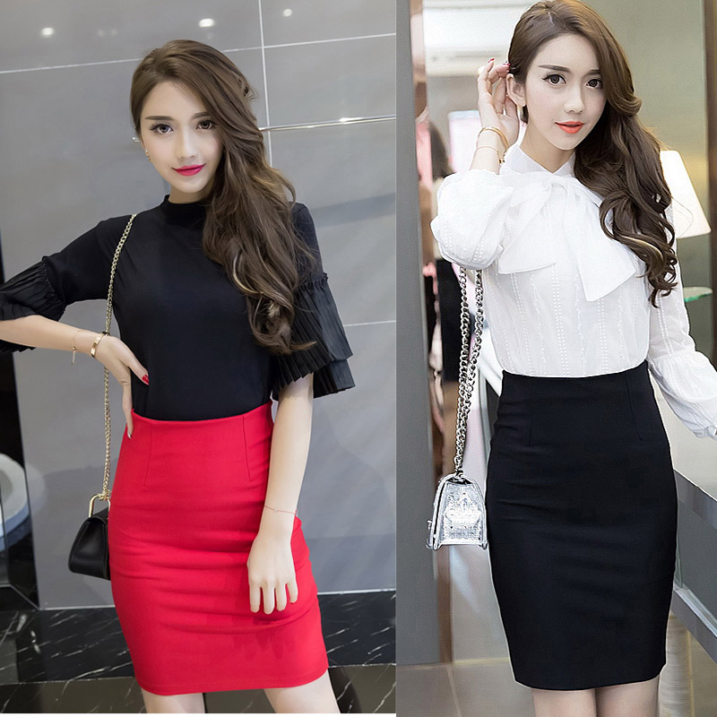 VogorSean Women Skirt High Waist Elastic Pencil Skirt 2019 Summer Office Sexy Skirts Womens Knee Length Bust Skirts Red/Black