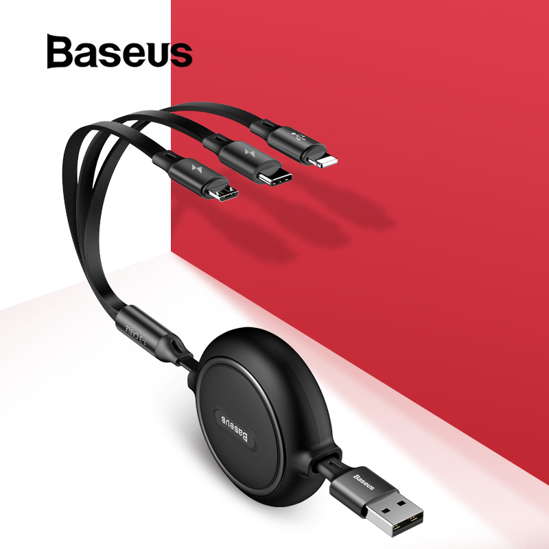 Baseus 3 in 1 USB Cable for iPhone XR XS Max 8 7 USB Type C Cable 2A Fast Charging Micro USB Cable Portable Charger Data Cable-in Mobile Phone Cables from Cellphones & Telecommunications on AliExpress