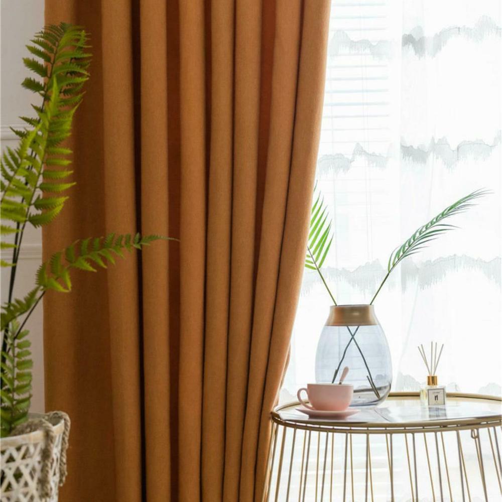 Blackout Curtains Northern European Style Wool Like Cotton Hemp