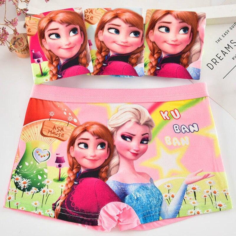 4 pièces/lot bébé filles dessin animé congelé Elsa caleçons enfants sous-vêtements coton culotte enfant en bas âge enfants sous-vêtements 1-7 ans