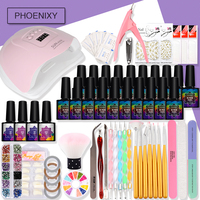 Full Set For Manicure With Nail Gel Polish Set Nail Art Accessories For Handle Semi Permanent Beauty Manicure Set With 80W Lamp