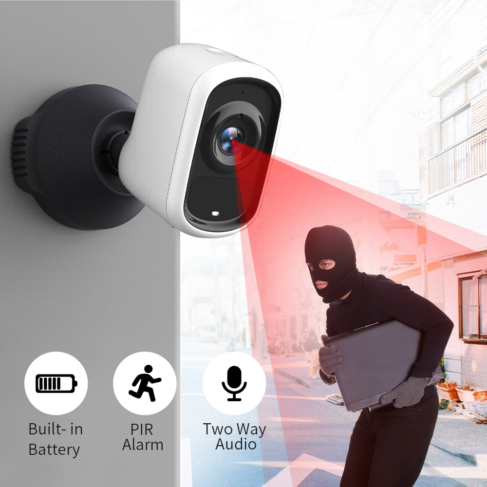 SDETER 1080P Rechargeable Battery IP Camera Wifi Camera Outdoor Indoor Weatherproof CCTV Security Camera PIR Motion Alarm IR P2P