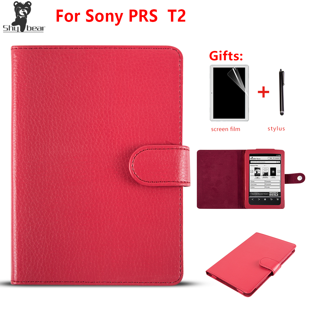 PU Leather Cover Case For Sony Prs T2 Funda Cover For Sony T2 Case  Magnetic Case For Sony Prs-t2 Ebook+ Film + Stylus Pen