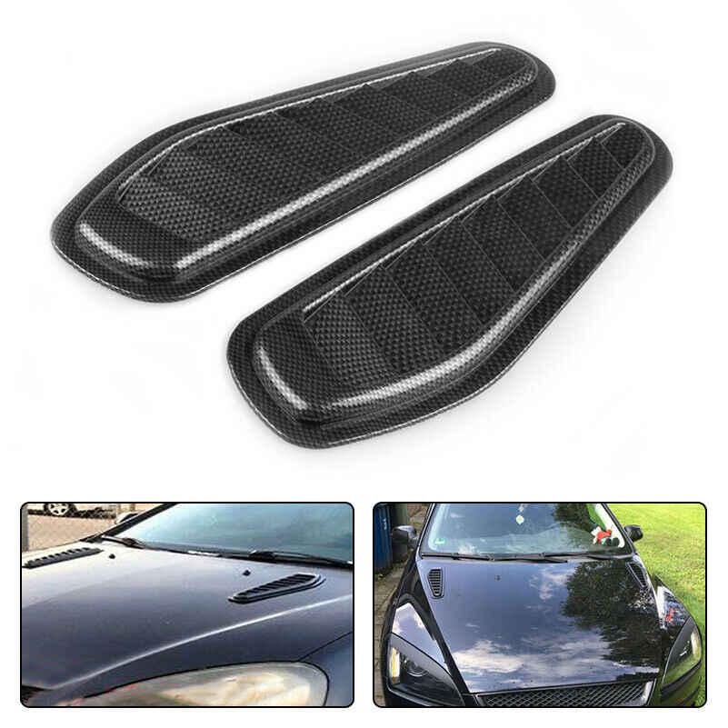 1 paire de Fiber de carbone course voiture capot Scoop capot évent accessoires décoratifs bâton