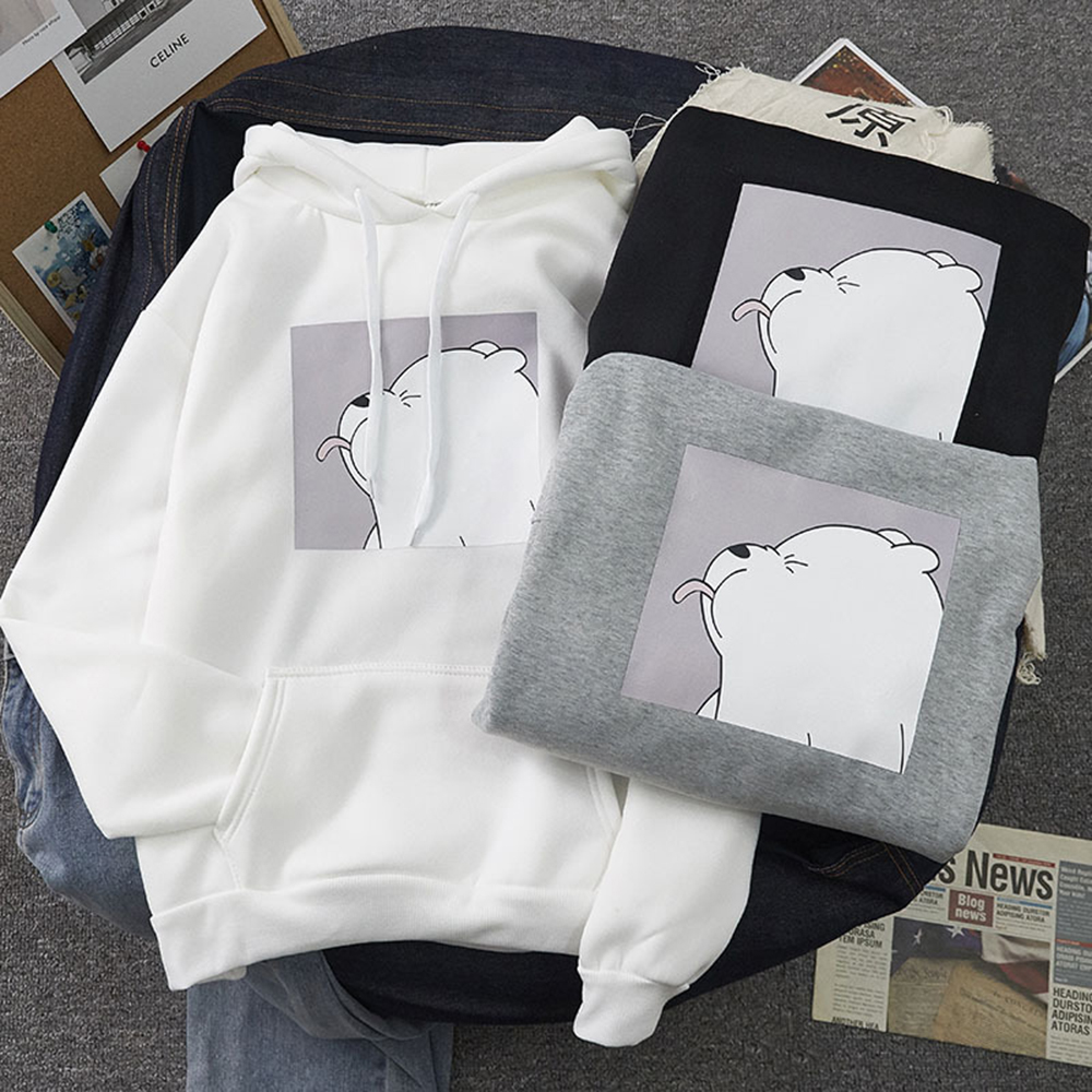 Permalink to 2020 Winter Warm Sweatshirts Cute Bear Pattern Casual Clothes Plus Velvet Women's Student College Cartoon Hoodies Long Sleeve